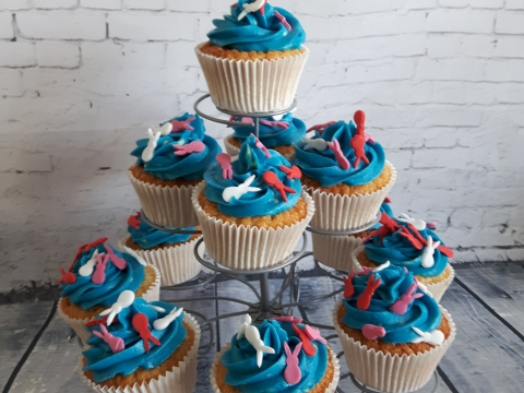 blauw toefje cupcakes